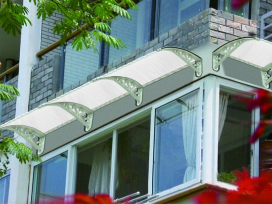 New Material Polycarbonate Door Sunshades Rain Cover Canopy with Water Gutter & China New Material Polycarbonate Door Sunshades Rain Cover Canopy ...