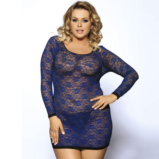China Wholesale Sexy Blue Long Sleeve Plus Size Lingerie