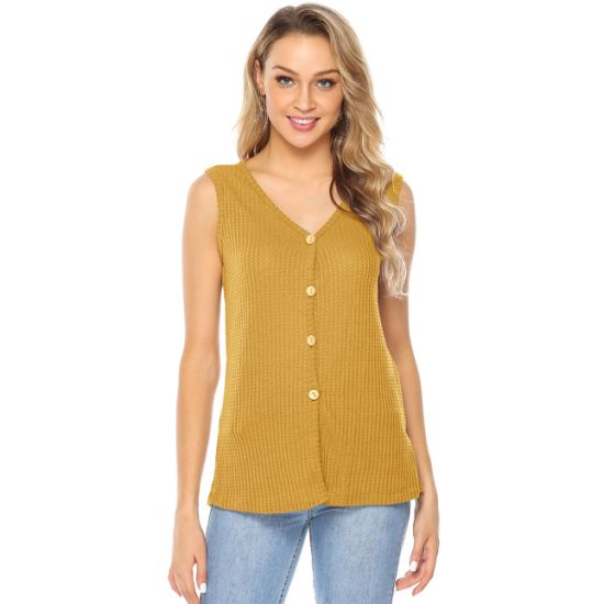 Ladies Slim Fit Sleeveless Button Front Cardigan T-Shirt