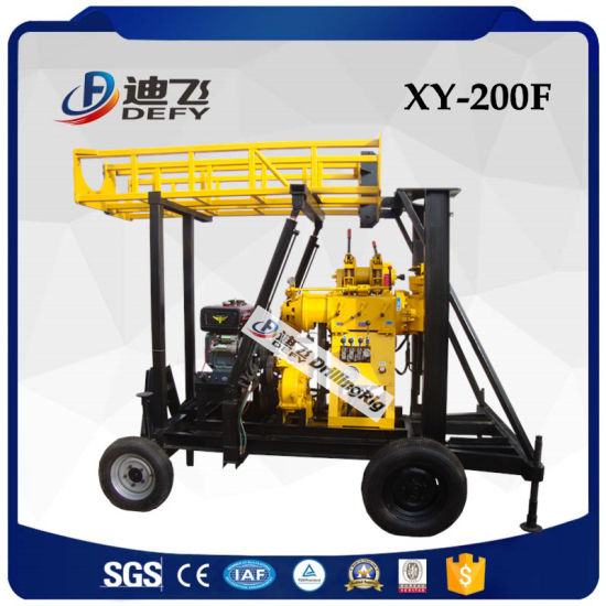 2019 Cheap Xy-200 10-200m Depth Trailer Mounted Borehole Water Well Drilling Rig Machine
