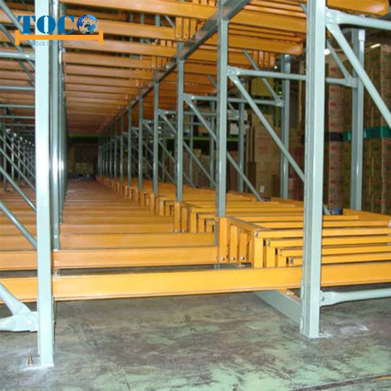 Q345b Commercial Customized Push Back Warehouse Rack for Foods Storage