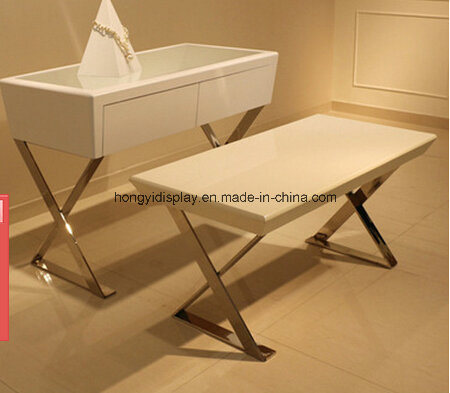 White Liquid Painting Display Table With Metal Leg Wooden Desk