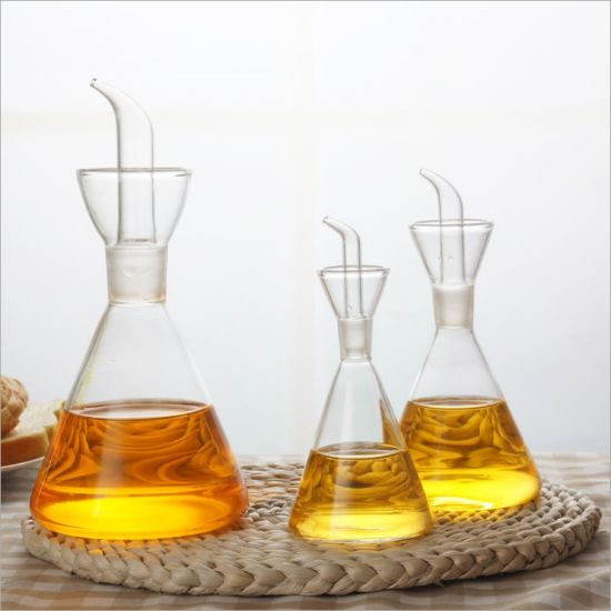 Healthy Conical Shape Glass Oil Bottle with Glass Mouth