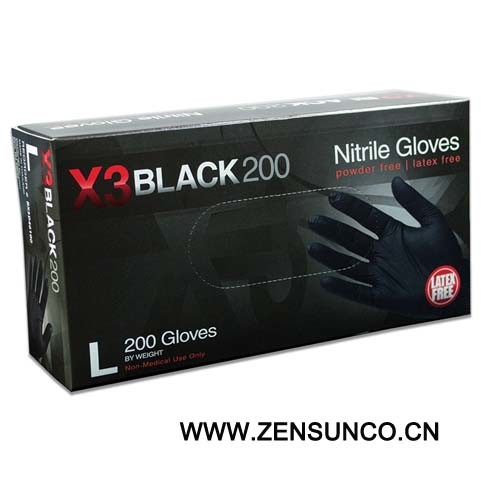 X3 Black 200 Nitrile Gloves pictures & photos