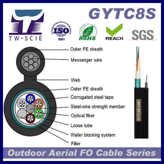 48 Core Aerial Overhead Fiber Optic Cable (GYTC8S) pictures & photos