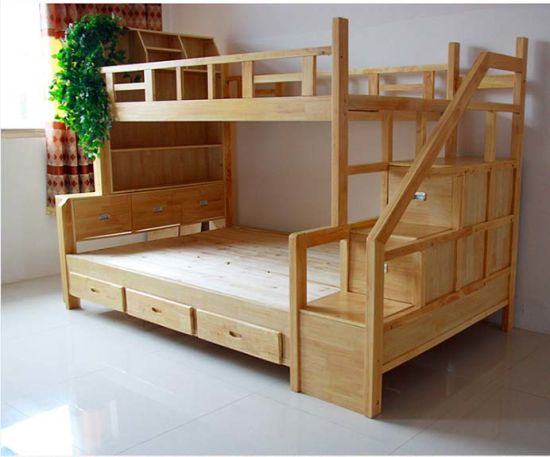 Hot Selling Solid Wood Bunk Bed with Ladder Ark (M-X1110)