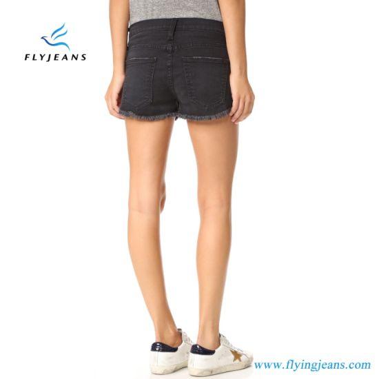 Fashion LadiesWomen Black Skinny Whisker Frayed Cuffs Jeans Mini Pants Denim Shorts by Manufacturer