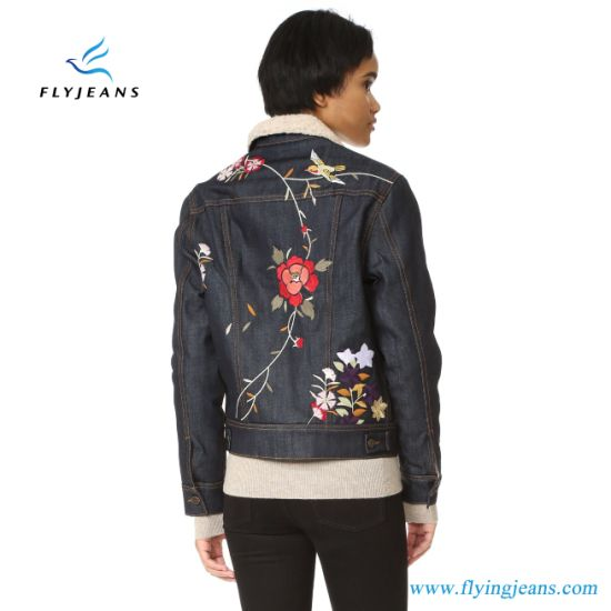 53c9fb386d42 China Flowers Embroidered Jeans Ladies Denim Jackets - China Women ...