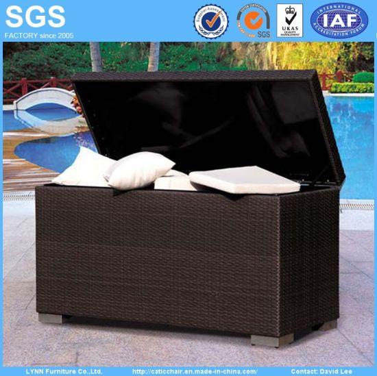 Gentil Garden Outdoor Furniture Wicker Rattan Cushion Storage Box