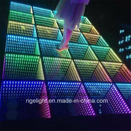 DMX 3D Mirror LED Portable Stage Light Dance Floor for Disco DJ Bar Wedding Party