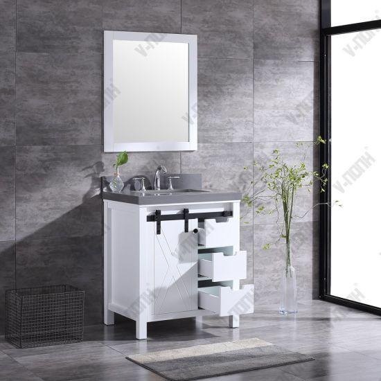 China 30inch White Bathroom Vanity With Sliding Barn Door China Large Storage Hangzhou
