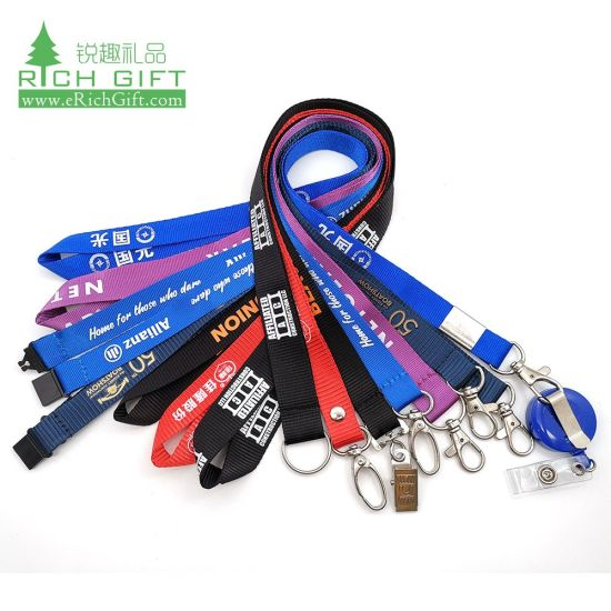 Design Custom Logo Printed ID Card Badge Water Cup Bottle Holder Nylon Ribbon Lanyard Pet Woven Safety Short Key Chain Mobile Cell Phone Case Camera Neck Strap pictures & photos