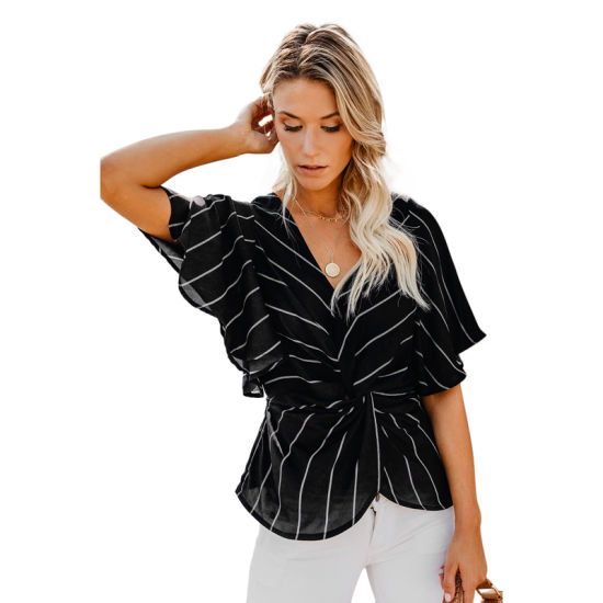 Womens Twist Front Blouse With Sequin Cuff