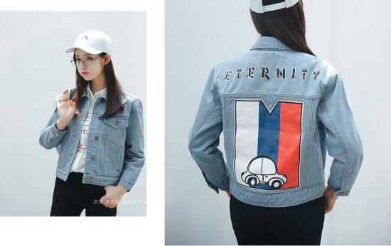 1386701f1cd Female Pale Blue Denim Jacket 3D Jeans Over Shirt Colored Print