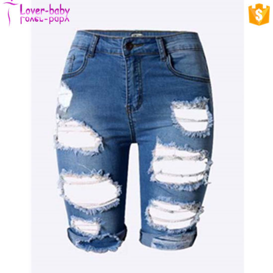 d93ee3bc16 2017 Fashion Wholesale Jeans Sexy Tint Blue Destroyed Cutoff Denim Shorts  Women L528 pictures & photos