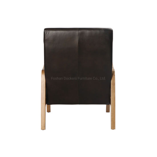 Modern Wooden Genuine Leather Bedroom Living Room Dining Leisure Sofa Chinese Home Furniture Chair China Single Sofa Waiting Chair