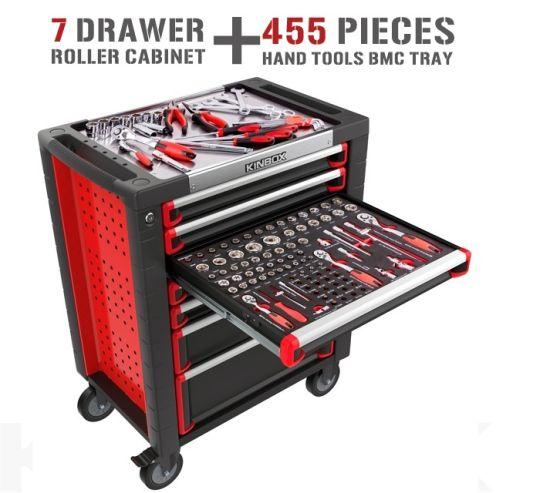 Kinbox 7 Drawer Mobile Repair Heavy Tool Cart Werkzeugwagen Mit 455 PCS Werkzeug China