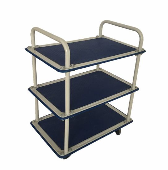 Three Shelf Adjustable Storage Utility Tool Cart with 4 Casters