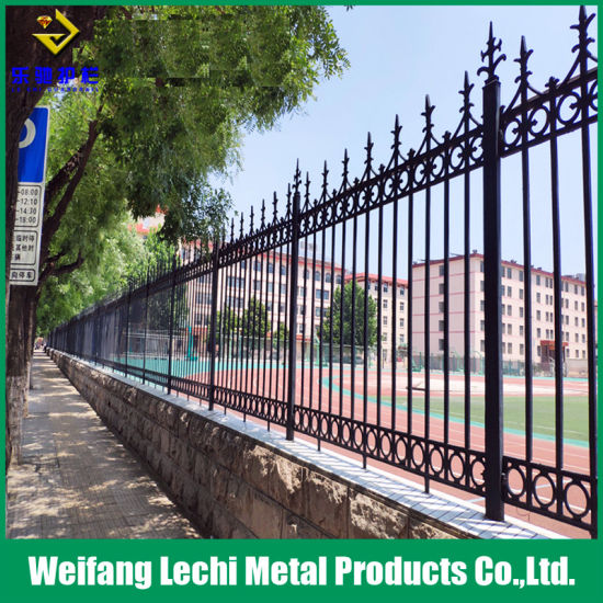 Security Powder Coated Metal Railing Cast Iron Fencing for Garden /Construction Site /Yard/ Playground