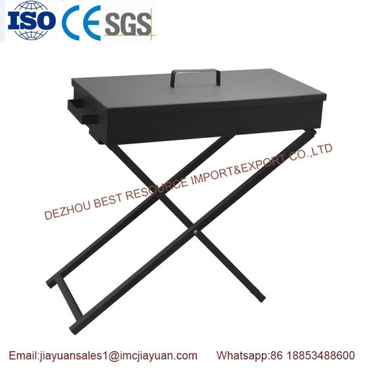 Outdoor Iron (cold rolled plate) Foldable Charcoal BBQ Grill with Spits