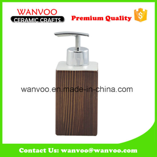Square Ceramic Soap Dispenser with Plastic Pump for Bathroom Ornament pictures & photos