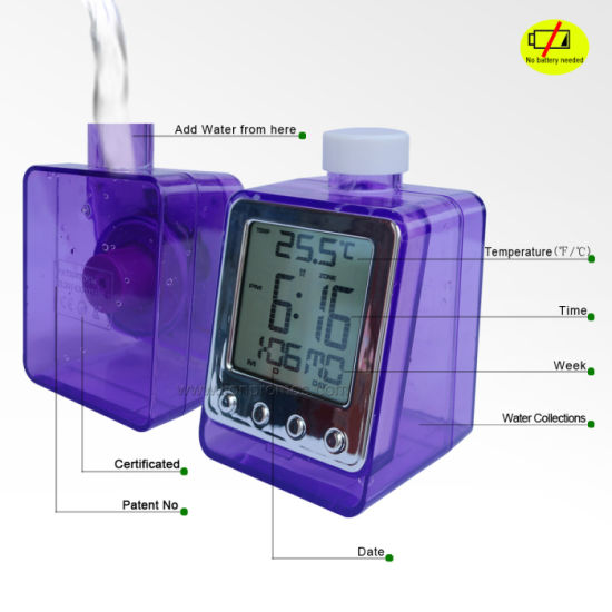 Patented Eco Friendly Multi Functions Water Power Alarm Clock