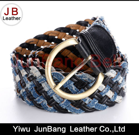 Fashion Ladie's Bonded Leather Braid Belt with Denim Material