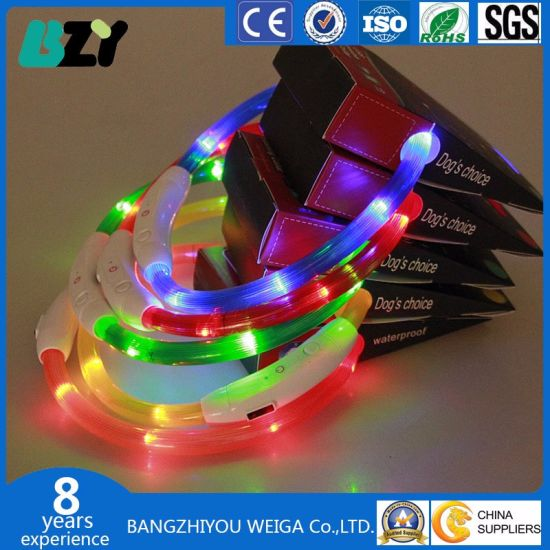 DIY Multi Color USB Charging Collar Rechargeable LED Flashing Dog Collar