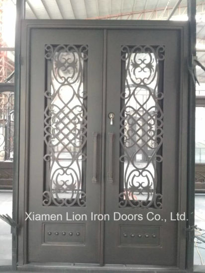China 2018 Contemporary Wrought Iron Security Entry Double Door For
