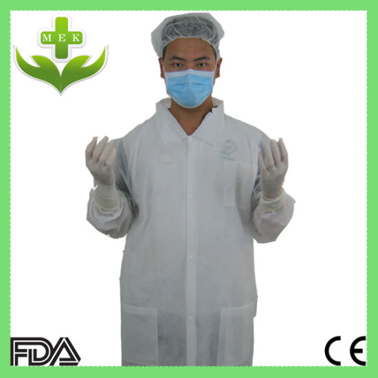 Blue and White PP Non Woven Disposable Lab Coat