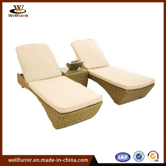China Garden Furniture Rattan Chaise Lounge Double Wicker Sun