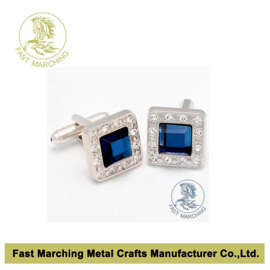 Custom Clothes Cufflink Cuff Links with Crystal at Factory Price
