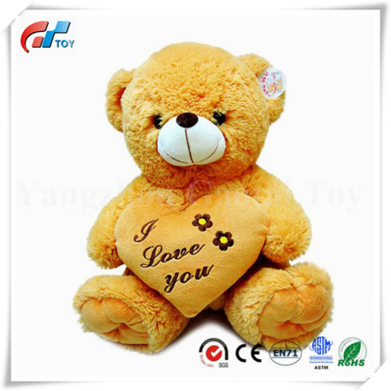 Valentine's Gift Red Heart Embroider I Love You Brown Teddy Bear