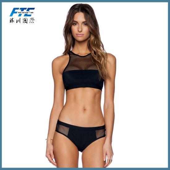 High Neck Women Black Bikini Lace Transparent Swimsuit