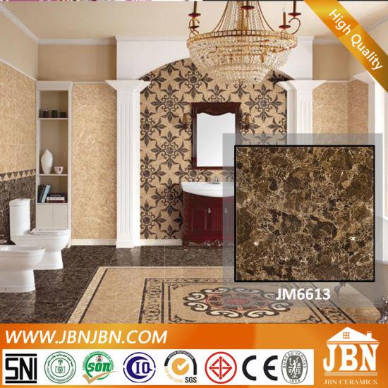 Dark Emplerado Brown Color Polished Porcelain Flooring Tile (JM6613)