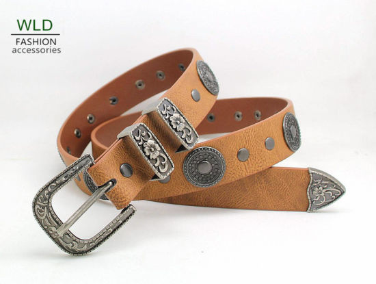 Special Buckle Classic Western Lady's Belt Ky6007-1