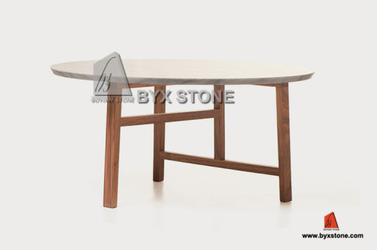 Round Shape White Marble Table Tops with Wooden Legs