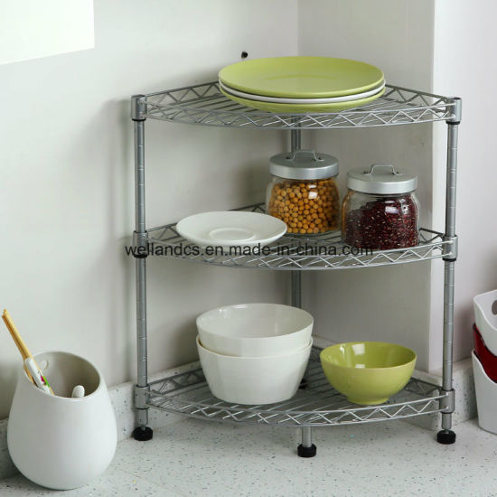 Mini Chrome Metal Wire Corner Kitchen Table Shelf Rack With Nsf Roval