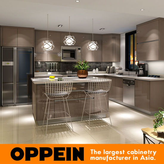 China Modern Glossy Grey Wooden PP LShaped Modular Kitchen Cabinets - Glossy grey kitchen