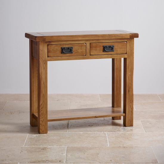 Rustic Vintage Oak Solid Wood Console Table With Drawer And Shelf