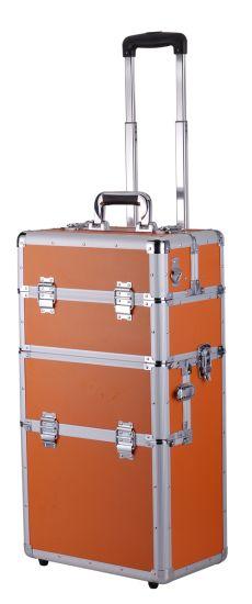 OEM Custome Orange Color Can Customrized Aluminum Beauty Trolley Case