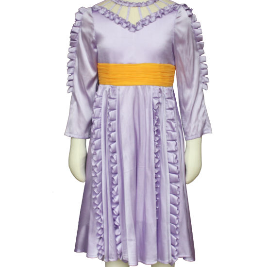Purple Kindergarten School Uniform Long Sleeve Kids Party Wear Birthday Dress Child Dress for Girl of 7 Years Old pictures & photos