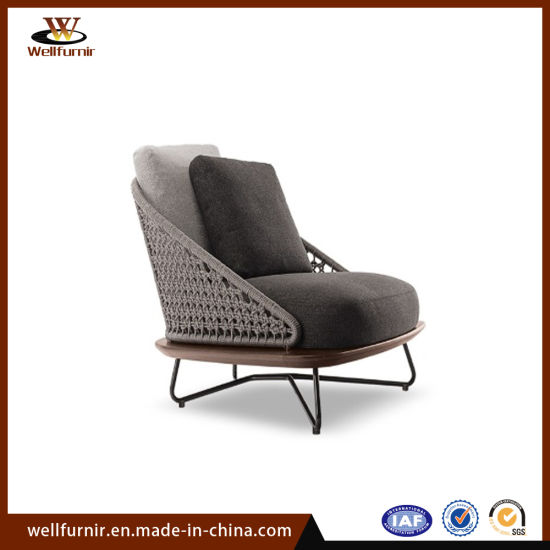 2018 Well Furnir Rope Wood Collection Single Sofa Chair Outdoor Furniture (WF-0602)