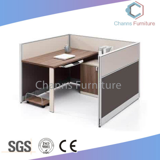 Modern Office Desk Single Office Cubicle With Wooden File Cabinet  (CAS W31483)