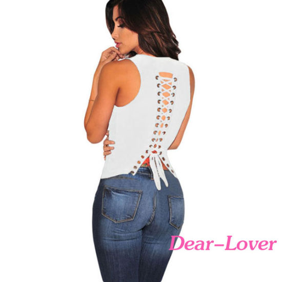 Fashion Lace up Back Sleeveless Top pictures & photos