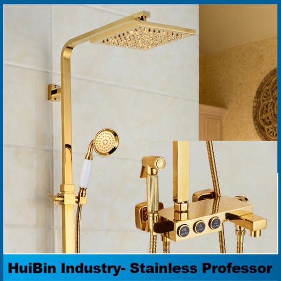 China Thermostatic Watermark Shower Square Brass Gold Shower Set ...