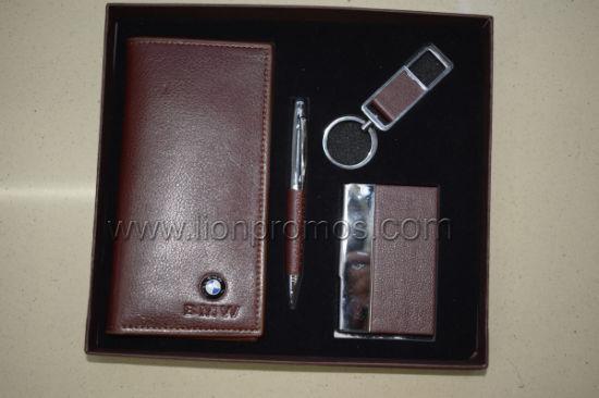 Custom Logo Embossed Leather Gifts Set Notebook, Pen, Keyring, Business Card Holder Gifts Set