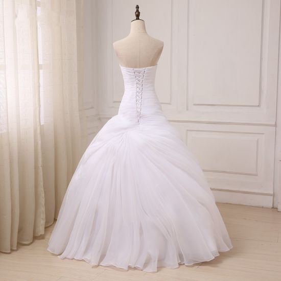 China Latest Sweetheart Ball Gown Beaded White Tulle Wedding Bridal ...