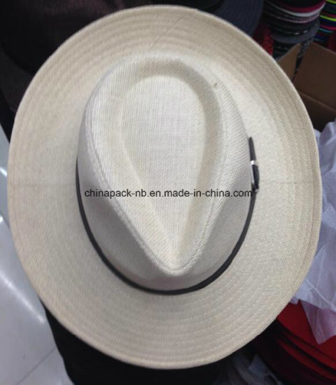 China Panama Hats with Leather Decorate for Men (CPA_90050