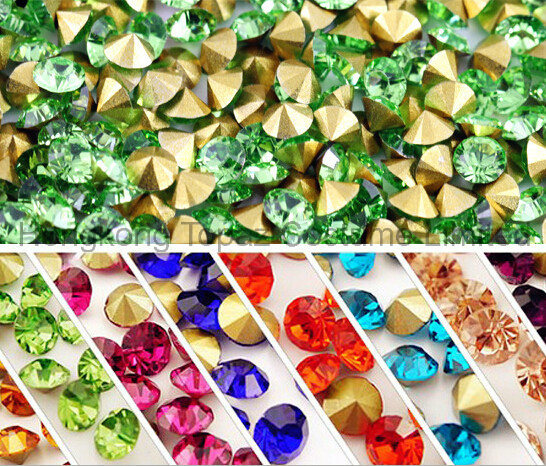 5mm Crystal Point Back Rhinestones Glass Chaton Rhinestone (TP Green/5mm) pictures & photos